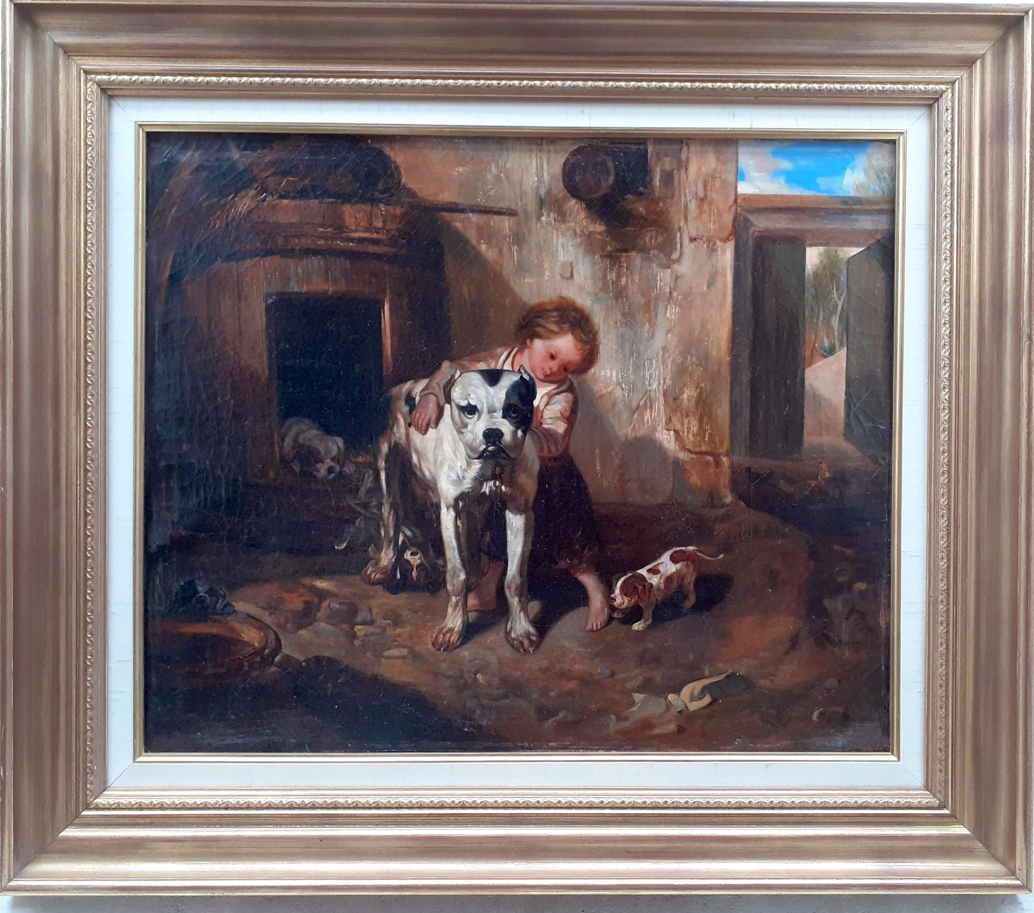 Mother dog and her puppies, 19th Century French Barbizonf armhouse painting