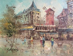 Moulin Rouge, Impressionist Landscape of Paris, Signed Oil