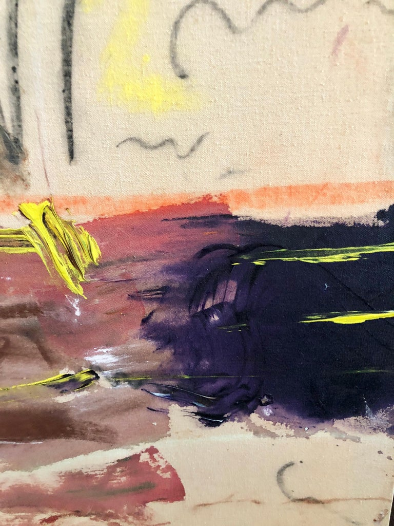 Mouse & Cat Watching TV - Brown Abstract Painting by Unknown