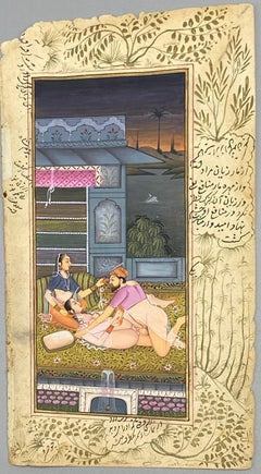 Mughal Couple engaging in Kama Sutra Outside in Nature in front of a Fountain