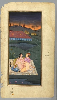 Mughal Prince engaging in Kama Sutra in a front of a Royal Tent