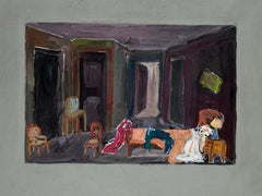 My Room - Tempera and White Lead on Cardboard - 20th Century