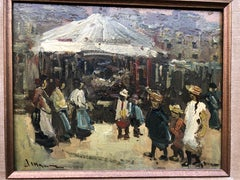 Mystery Spanish Impressionistic Merry Go Round oil on board
