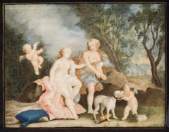 Mythological Scene - Original Oil on Board - 18th Century