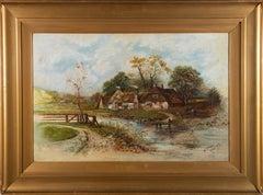 N. Wray - Signed & Framed 1913 Oil, Riverside Cottage