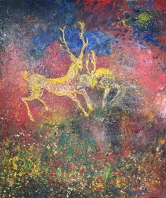 Naive Magical Realist Surrealist Stags Deer painting