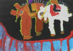 Naive Painting of Animals c1962 by Chinese School Child