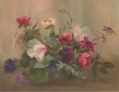 Nan Parker - Mid 20th Century Oil, Still Life, Pink Flowers