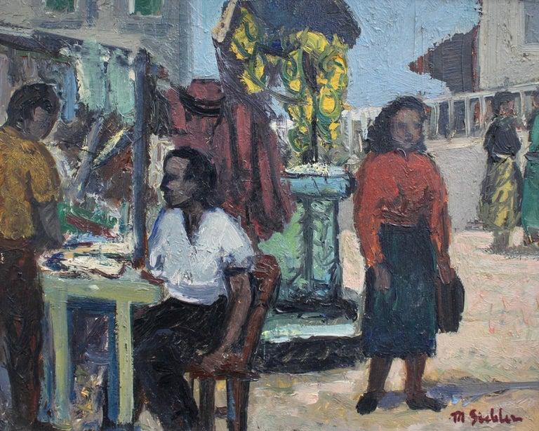 Unknown Figurative Painting - Naples Street Scene