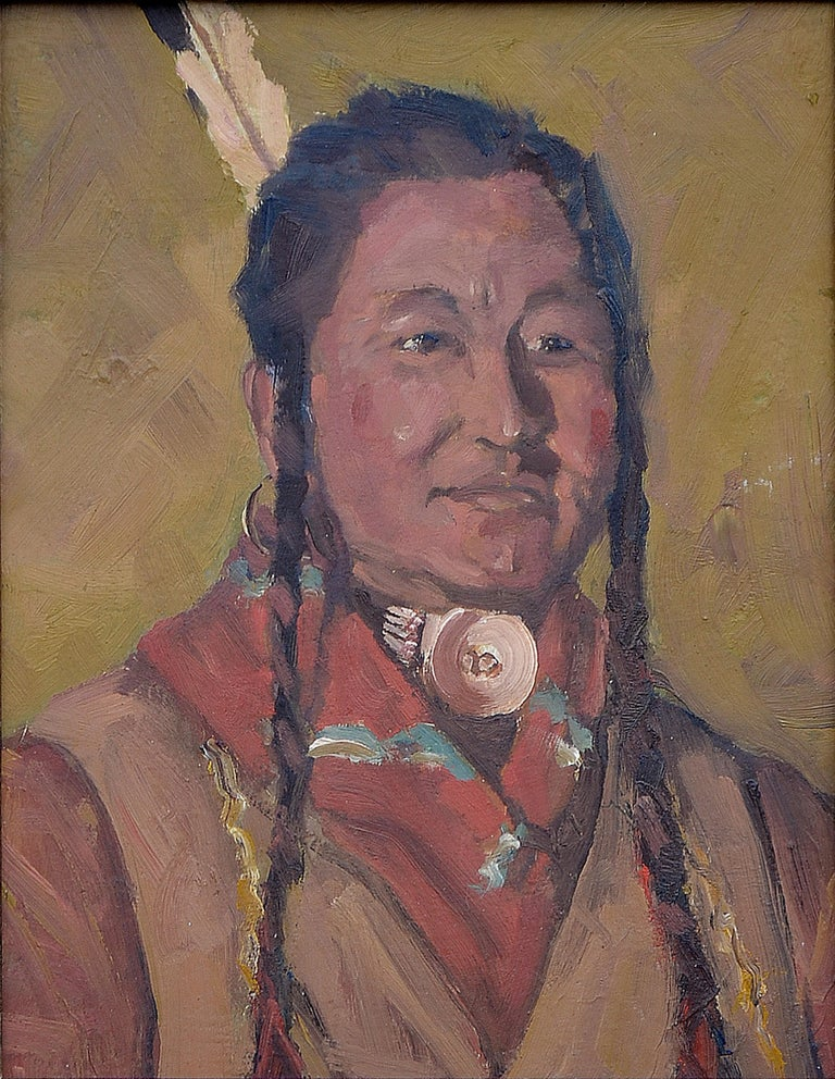 Native American Man with Shell Necklace - Painting by Unknown
