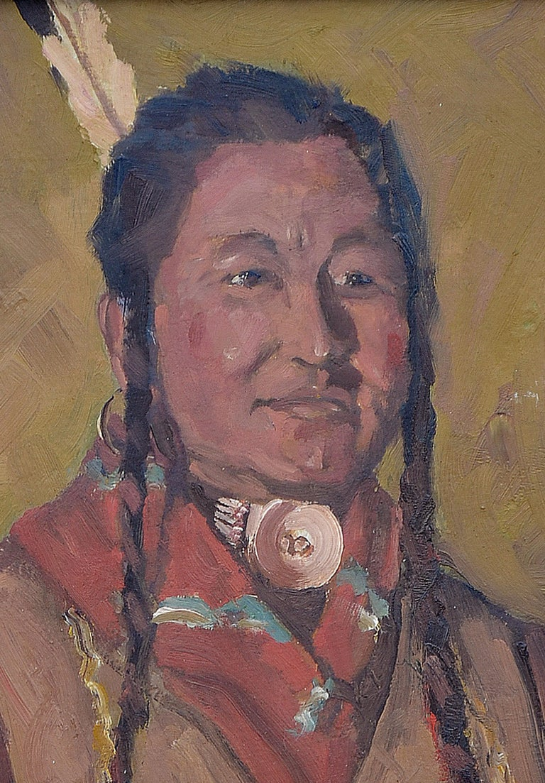 Native American Man with Shell Necklace - American Impressionist Painting by Unknown