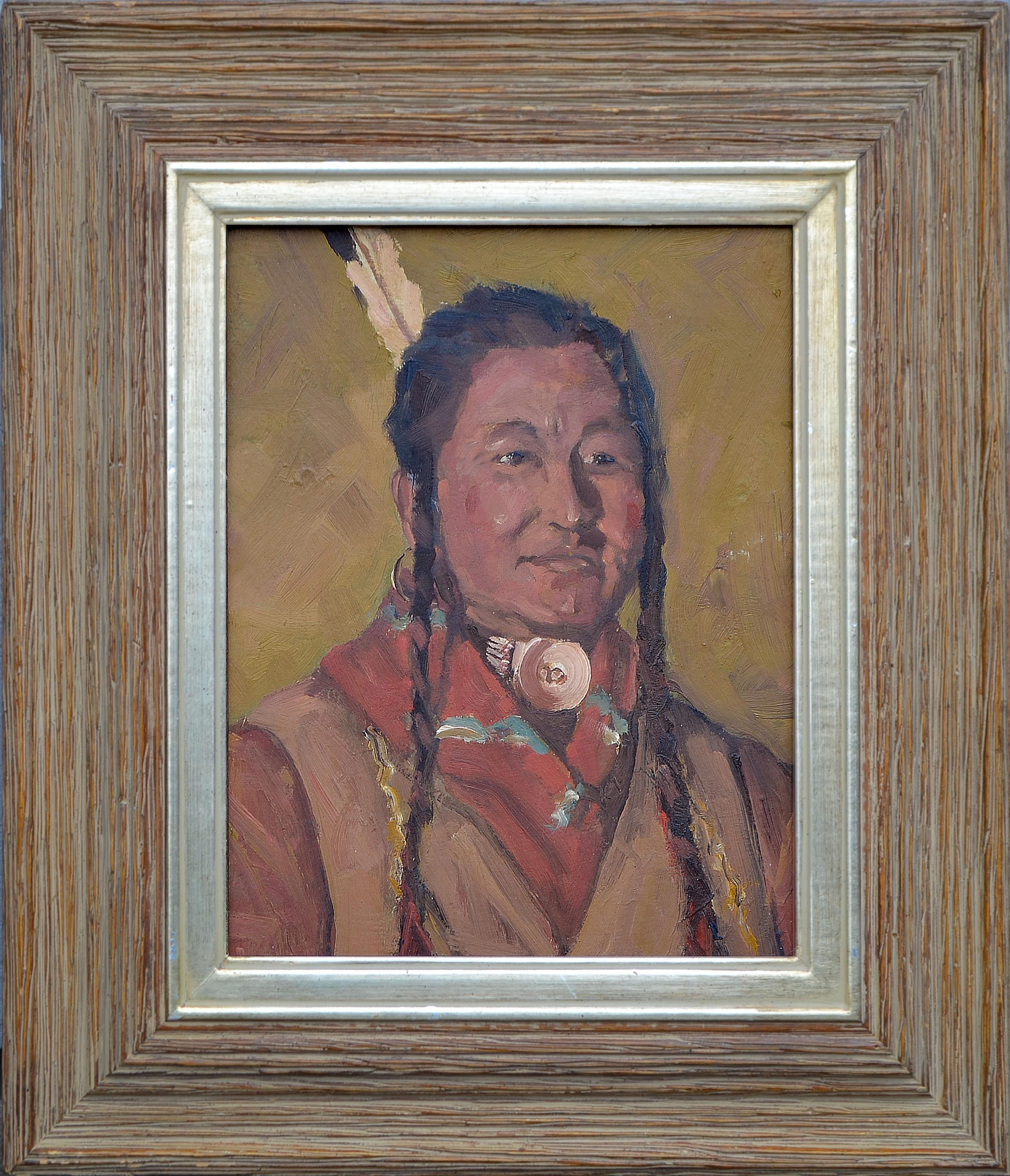 Portrait of a Native American Man with Shell Necklace