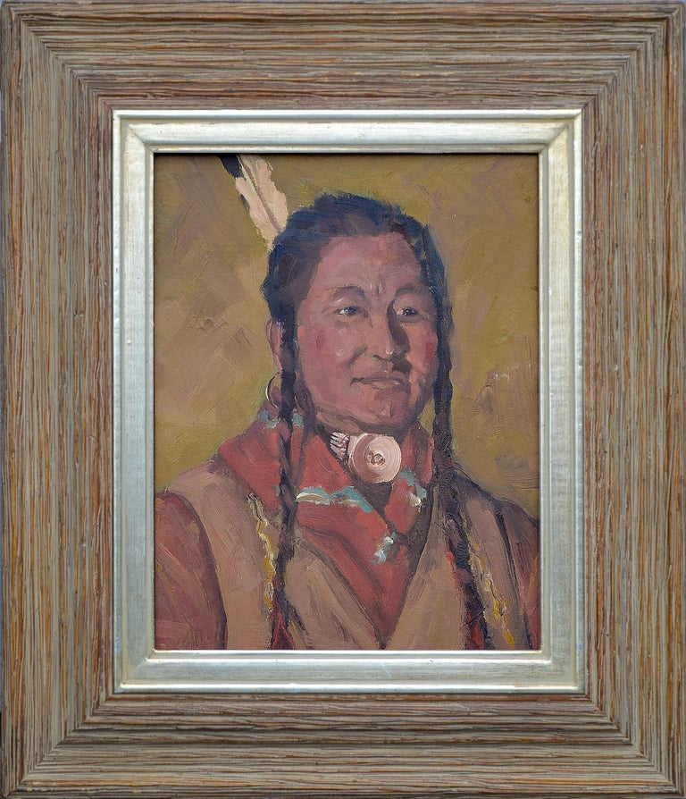 Unknown Figurative Painting - Native American Man with Shell Necklace