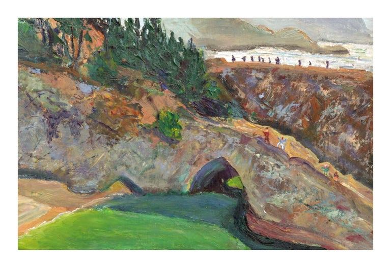 Natural Bridges, Santa Cruz, California - Figurative Landscape  - American Impressionist Painting by Unknown