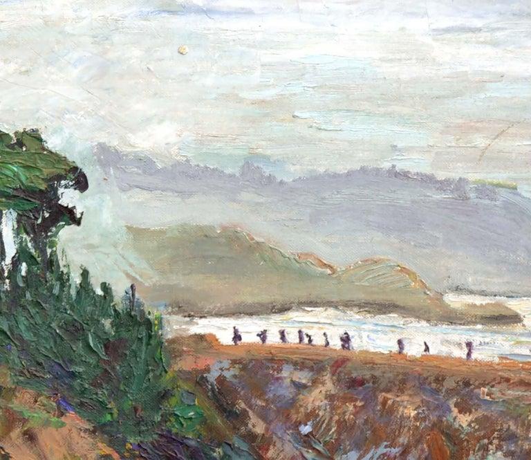 Natural Bridges, Santa Cruz, California - Figurative Landscape  - Gray Landscape Painting by Unknown