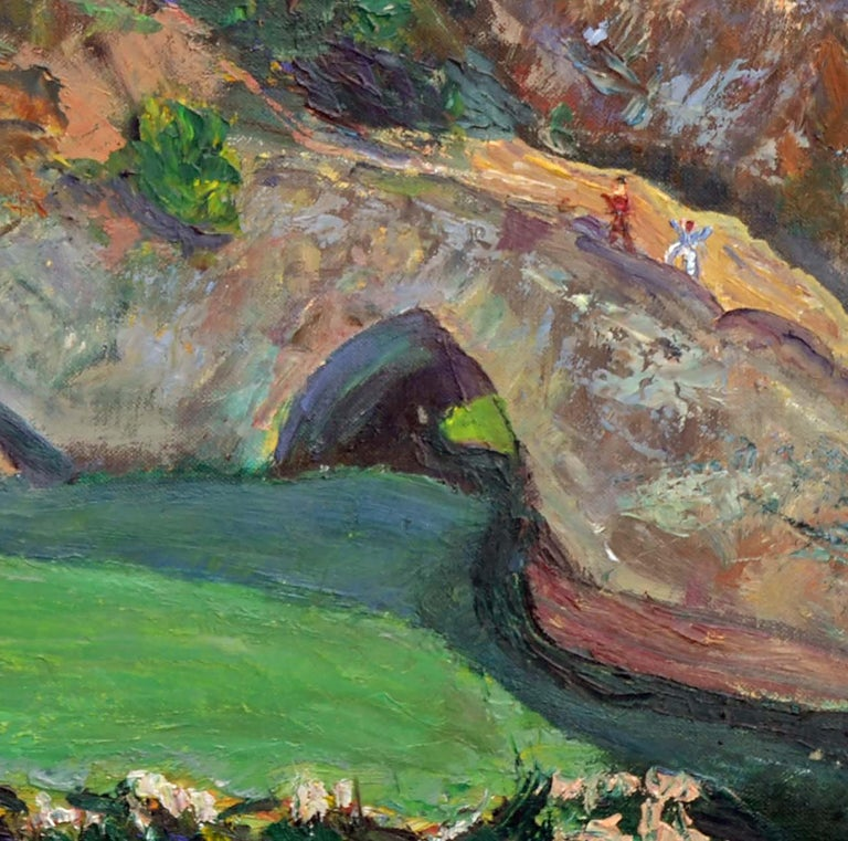 Expressive landscape of the distinctive rock formations at Natural Bridges State Beach in Santa Cruz, California with blocks of color fields and tiny figures dotting the cliffs by an unknown artist. The Monterey Bay coastline is seen in the