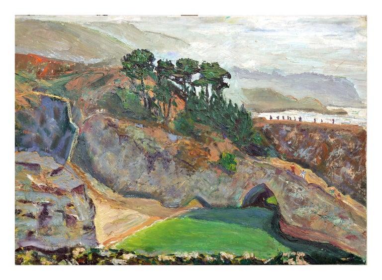 Unknown Landscape Painting - Natural Bridges, Santa Cruz, California - Figurative Landscape