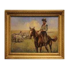 Naturalistic Cowboys Herding Cattle Western Painting Signed Voros
