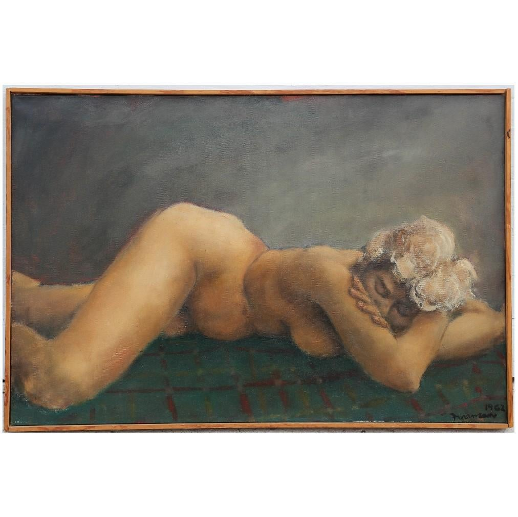Naturalistic Nude Laying on Bed Painting Signed Foreman