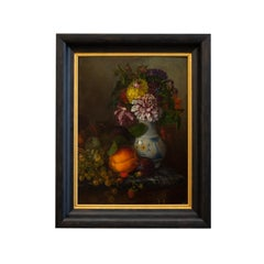 Nature Morte With Fruits and Flowers, French School, c. 1860, Oil on Panel