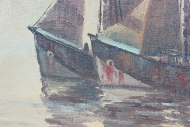 Nautical Themed Painting with Two 1800's Style Ships - Gray Landscape Painting by Unknown