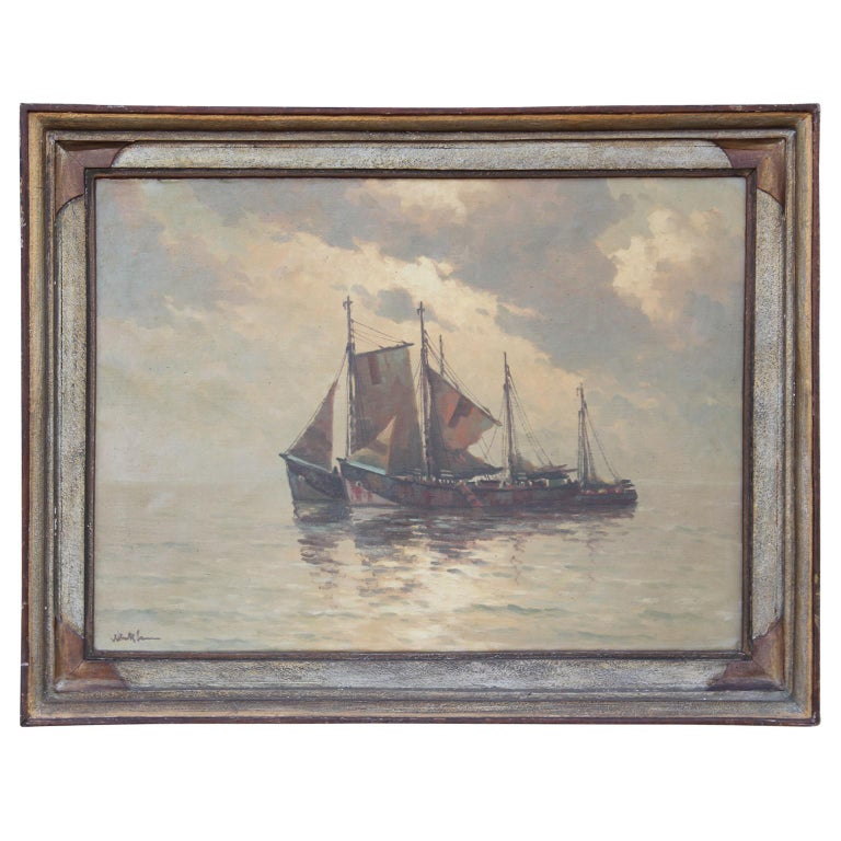 Unknown Landscape Painting - Nautical Themed Painting with Two 1800's Style Ships