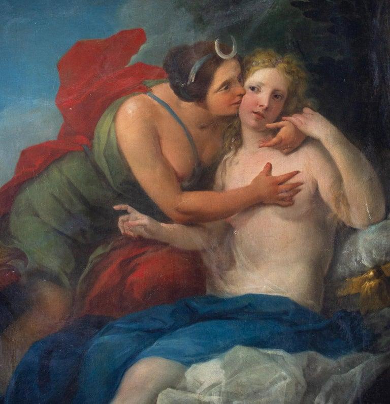 Neoclassic Mythological Painting Jupiter Seduce Callisto  - Black Figurative Painting by Unknown