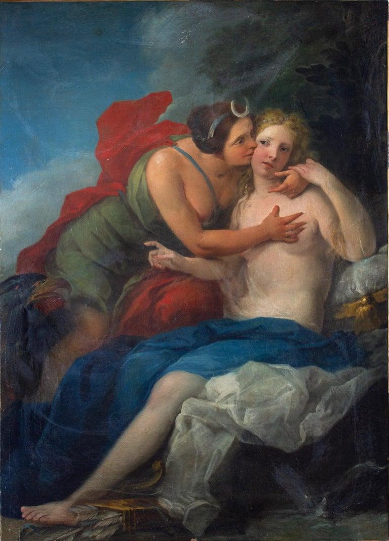 Unknown Figurative Painting - Neoclassic Mythological Painting Jupiter Seduce Callisto