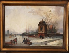 Netherlands canal in winter with Dutch skaters sleds windmill and barges Holland