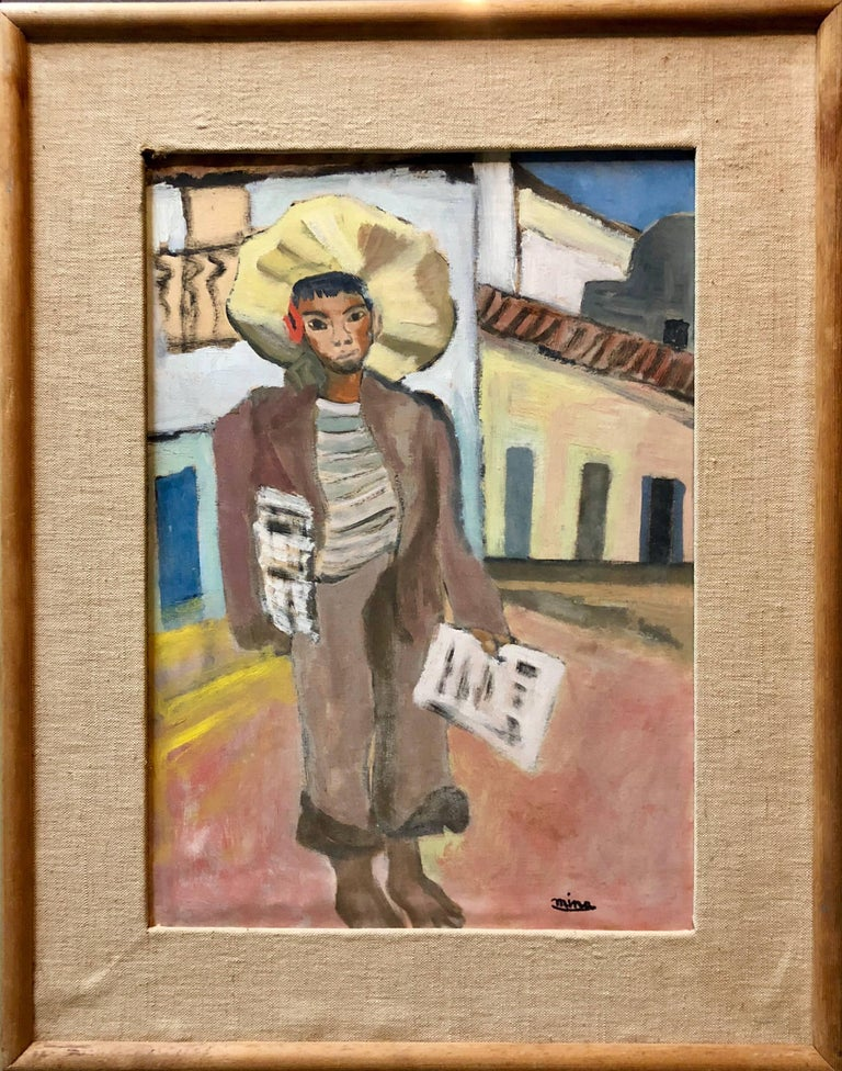 Newspaper Boy, Mexican Mid Century Naive Folk Art Oil Painting  - Brown Landscape Painting by Unknown
