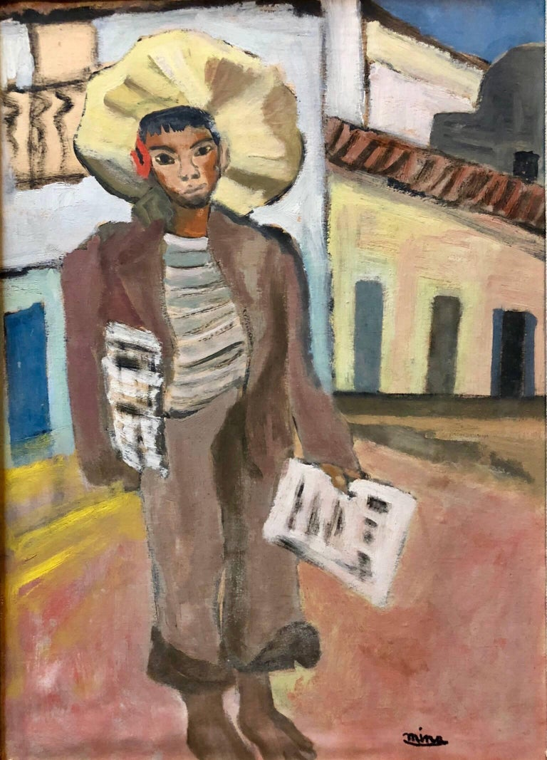 Unknown Landscape Painting - Newspaper Boy, Mexican Mid Century Naive Folk Art Oil Painting