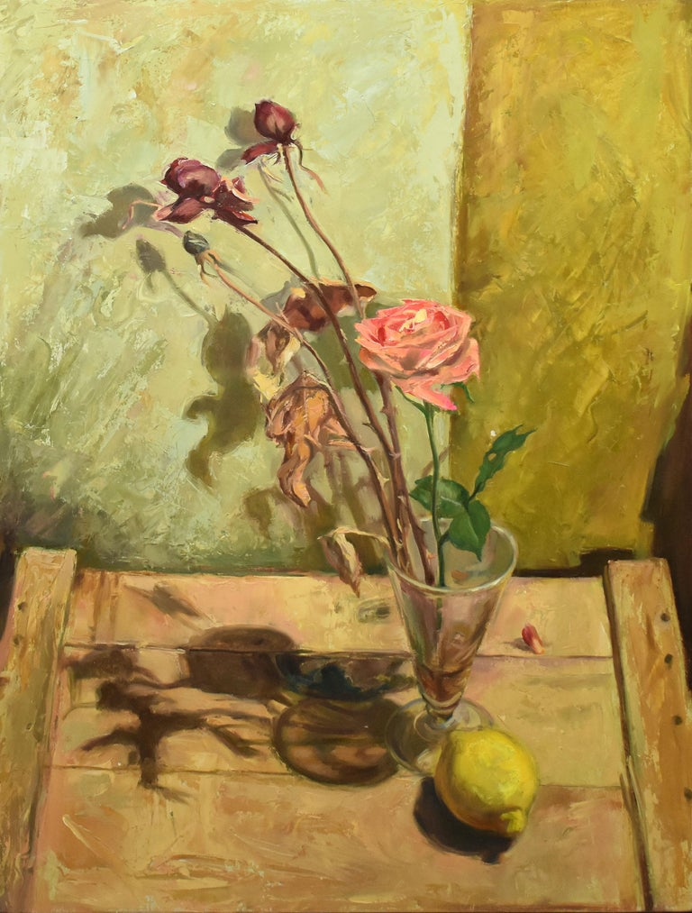 Modernist still life painting of flowers and a lemon.  Oil on board, circa 1990.  Signed illegibly on verso.  Displayed in a modernist frame.  Image size, 16
