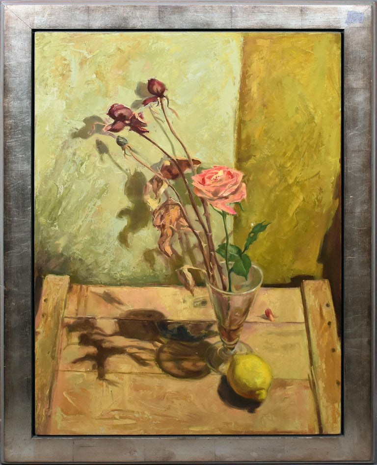 "Unknown Still-Life Painting - ""Night Lemon"" Modernist Kitchen Table Flower Still Life American Oil Painting"