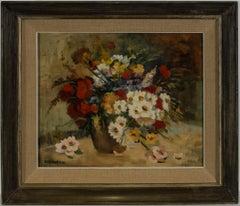 Nina De Martini - Framed 20th Century Oil, Floral Still Life