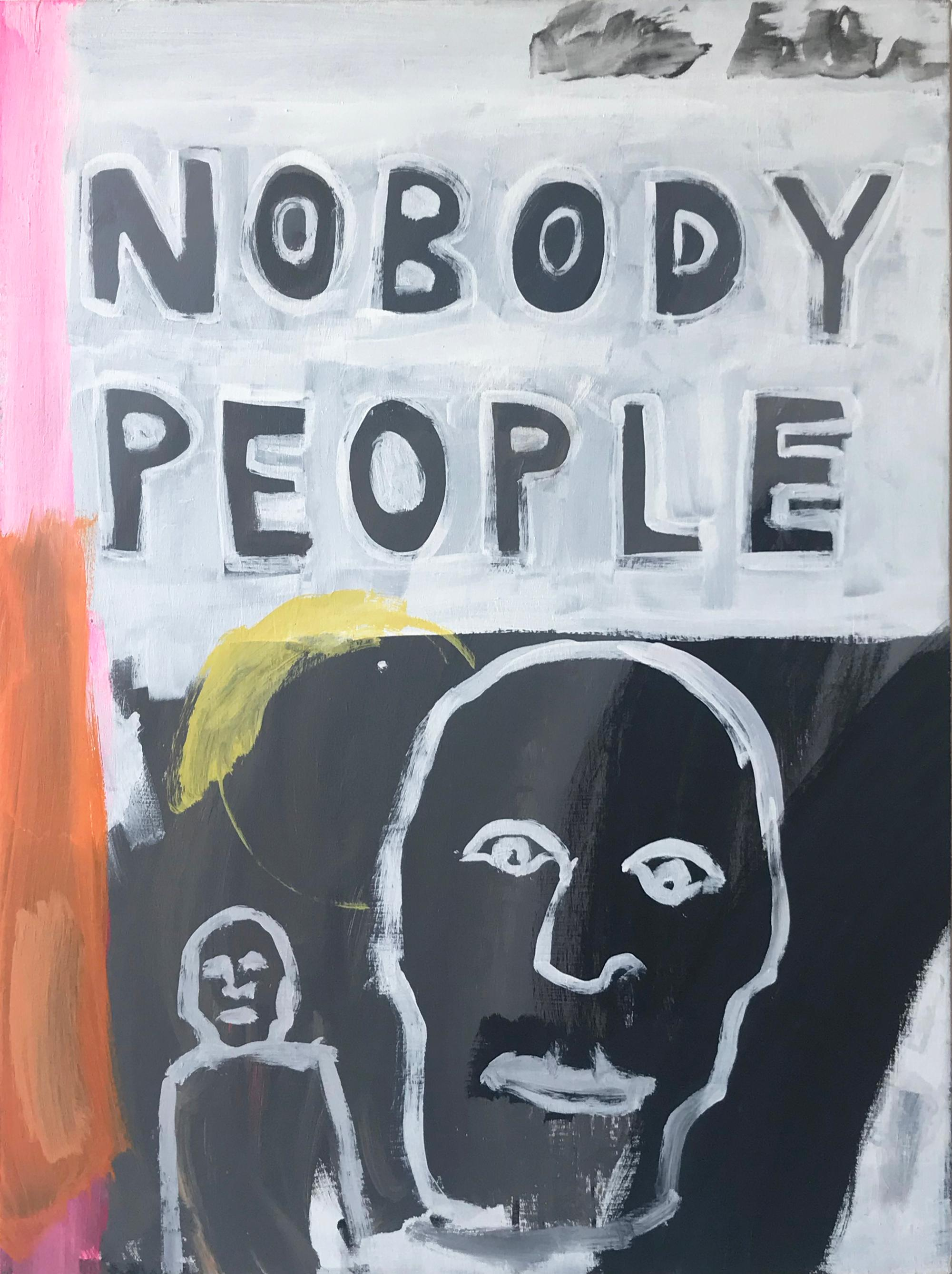 Nobody People, Painting, Figurative, Orange, Pink. Yellow, Black, Basquiat