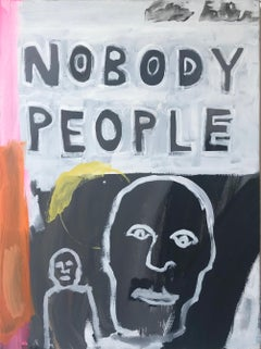 Nobody People, Painting, Figurative, Orange, Pink. Yellow, Black, Basquiat