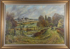 Norman Olley - Signed & Framed 1987 Oil, October Marshland