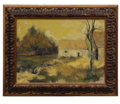 North Western Yellow Tonal Landscape Painting Signed Bollowe