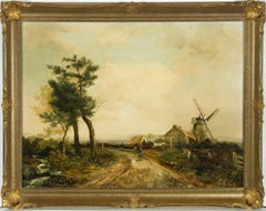 Norwich School 19th Century Oil - English Landscape with Figures and Windmill