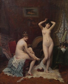 Nude Women in a Boudoir - French 1900 art interior nude portrait oil painting