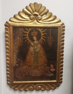 Nuestra Sra. de Belen, School of Cusco, Gold Frame, Late 1800's, Peru, Madonna