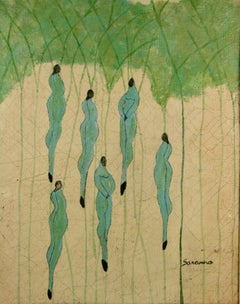 Nymphs in  a Forest Figurative  Surreal Painting