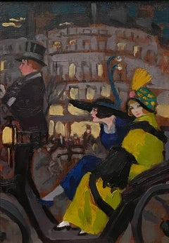 Off to the party - oil painting, early 20th Century, Great Gatsby