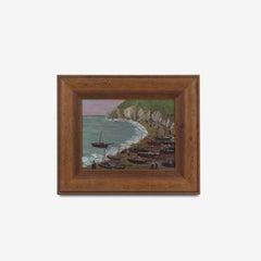 Oil on Board Painting of a Coastal Scene