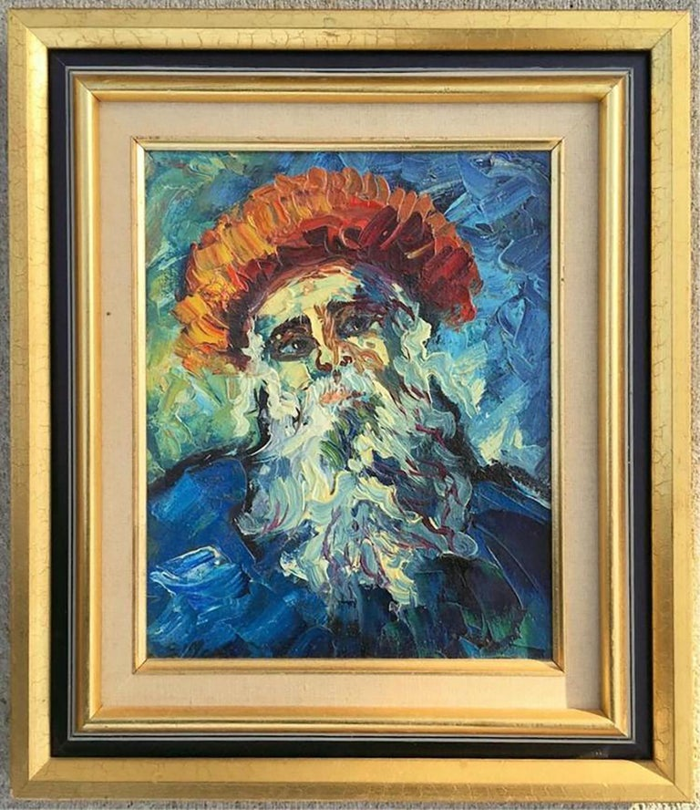 Unknown Figurative Painting - Oil On Board Portrait Of Bearded Man In Gilt Frame