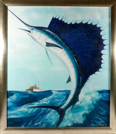 Oil on Canvas Leaping Sailfish by Marshall Anderson