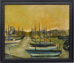 Oil on Canvas by Jallais, Boats in Port, 1960s