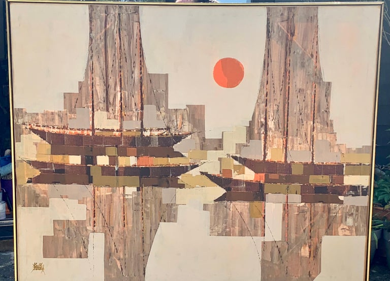 oil on canvas,Large mid 20th century century abstract sailing boat with sunset - Painting by Unknown