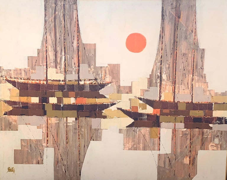oil on canvas,Large mid 20th century century abstract sailing boat with sunset - Abstract Painting by Unknown