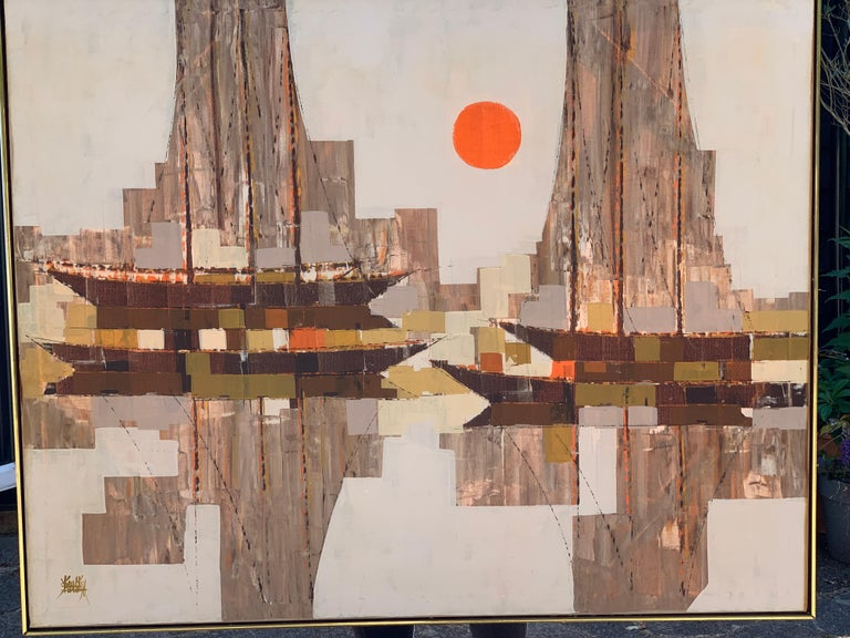 oil on canvas,Large mid 20th century century abstract sailing boat with sunset - Brown Landscape Painting by Unknown